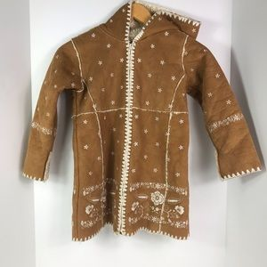 Gap Sherpa leather coat suede embroidery girls 5